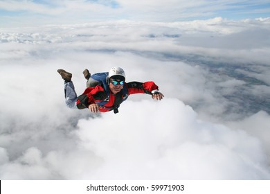Close up of skydiver in freefall