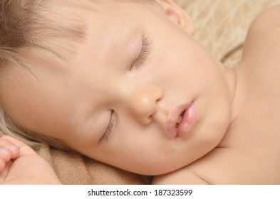 close up of sleeping baby