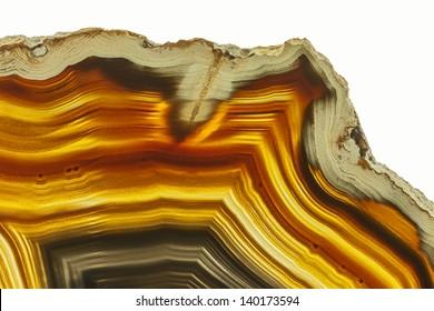 Close up of a Slice Agate Gemstone
