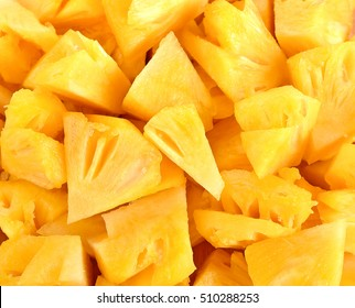 Close up slice pineapple background texture.
