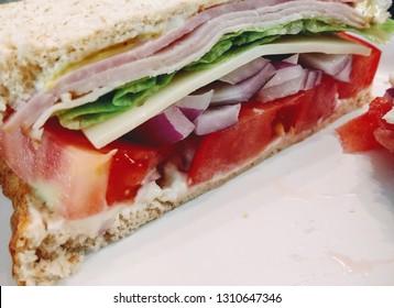 Close up of Sliced Ham Sandwich
