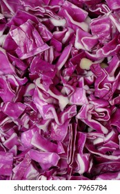 Close up of sliced red cabbage