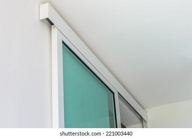 Close up of slide door.
