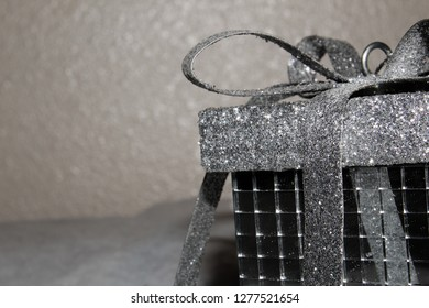 Close up of a sliver Christmas gift