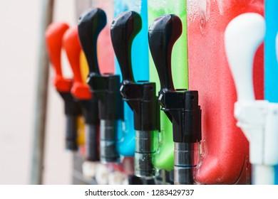 Close up of slush machine. Slushy ice made colorful drink refreshing during summer