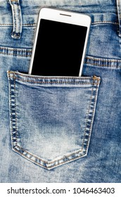 Close Up Smartphone in blue Jeans Back Pocket Bussines Fashion Stylish  Screen Copy Space White Mobile Denim Hipster
