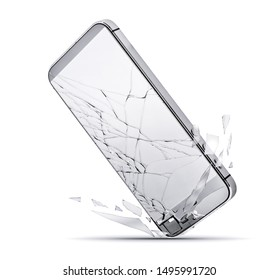 Close up of smartphone drop to the ground, broken glass screen isolated on a white background. Damaged mobile phone, cracked modern touch screen. Electronics repair service, accident insurance concept