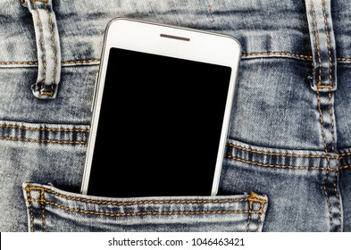 Close Up Smartphone in Jeans Back Pocket Bussines Fashion Stylish  Screen Copy Space White Mobile Denim Hipster