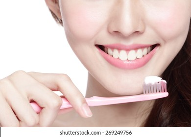 Close up of Smile woman brush teeth. great for health dental care concept, Isolated over white background. asian