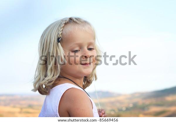 Close up of smililng little girl