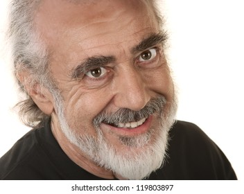 Close up of smiling bearded senior male