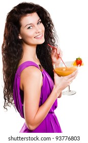 Close up of a smiling woman with orange juice