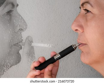 Close up of a smoker who has replaced the cigarette with electronic cigarette