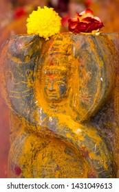 Close up of Snake Goddess - Naga Devata. Nagula Chavithi, a festival to worship Nag Devatas.