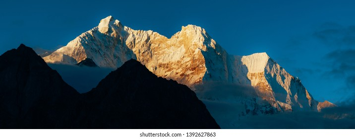 close up snow mountain in sunrise in Himalaya mountain of Tibet