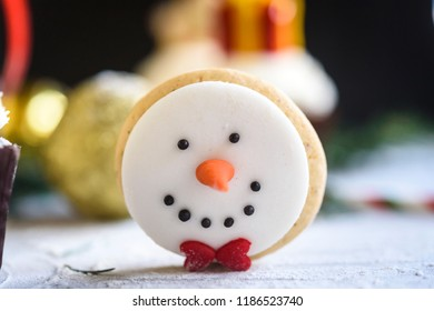 Close up to snowman cookie,selective focus