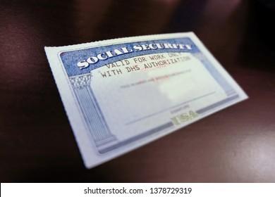 Close up Social security card