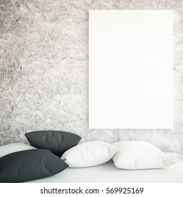 Close up of sofa with pillows and empty whiteboard on concrete background. Mock up, 3D Rendering