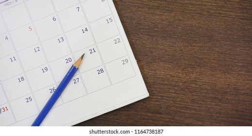 close up soft focus on pencil over calendar 2018 at office desk with top view concept