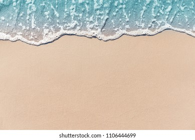 Close up soft wave lapped the sandy beach, Summer Background.