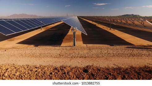close up of solar power panels, in desert.
