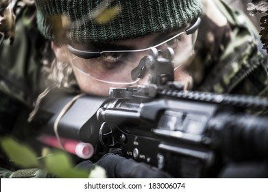 Close up of a soldier aiming