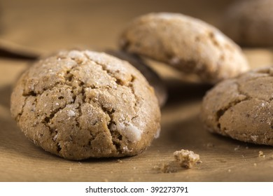 Close up of some fresh almond cookies
