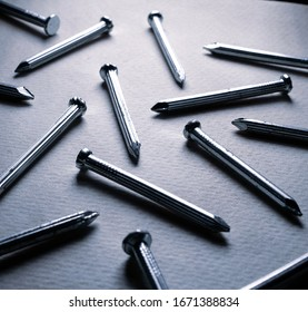 Close up of some iron steel hardware nails