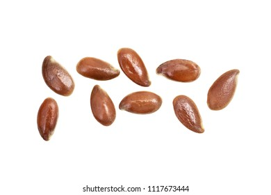 Close up of some linseed or flax seed isolated on white background seen from above