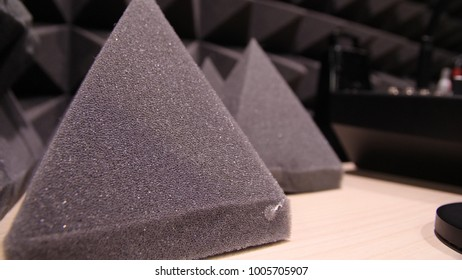 close up Sound Absorption, noise reduction texture in recorder room ,with light flare. Recording Studio foam closeup