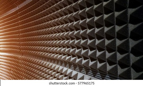 close up Sound Absorption, noise reduction texture in recorder room ,with light flare.