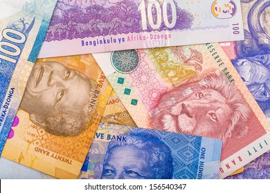 Close up of South African currency the Rand isolated on white background