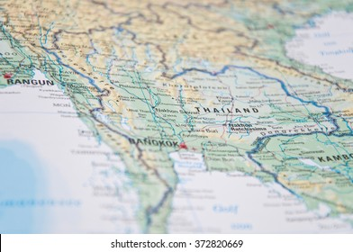 Close Up of south east asia map.