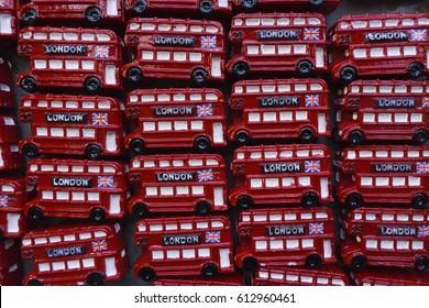 Close up of souvenir toy London double decker buses