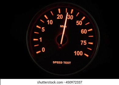 Close up of speed test of internet connection with speedometer and speed up to 26 Mbps