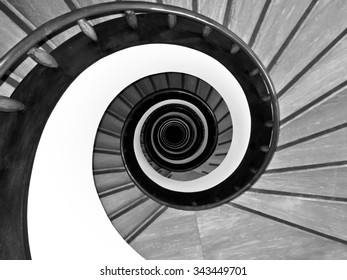 Close up of a spiral staircase in black and white