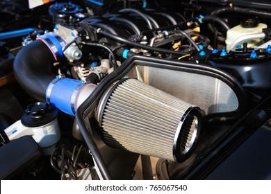 Close up of sport car air filter.