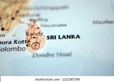 close up Sri Lanka on map