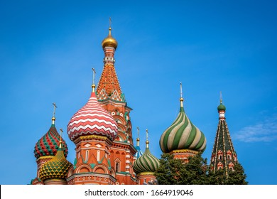 Close up of St. Basil's Cathedral on Red Square in the Kremlin in Moscow, Summer in Russia.Blue clear sky in the background.