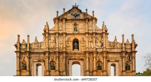 close up St. Paul cathedral Ruin in Macau