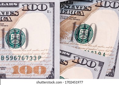 Close up of a stack of american dollar banknotes. Money background. Financial, business, investment and economical concept. Top view.