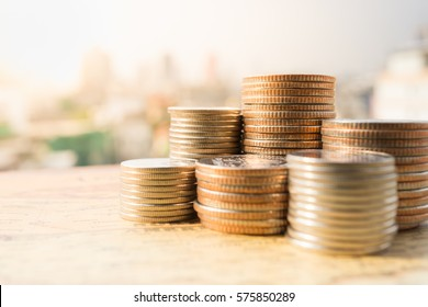 Close up of stack of coins, Money, Financial, Business Growth concept.