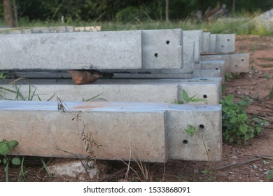 Close up stack of Concrete pillars for construction.