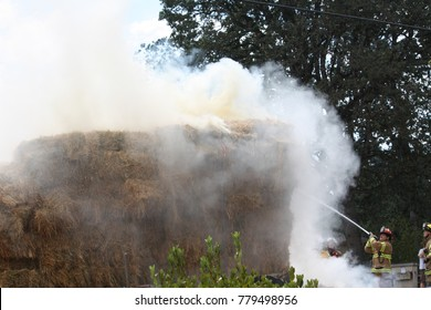 Close up of the stack of hay on fire.   Jefferson, Oregon/USA-08/21/2014