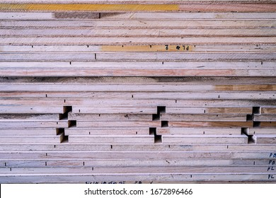 close up stack of knockdown plywood frame