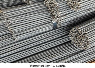 Close up stack of steel bar or steel reinforcement bar texture in construction site