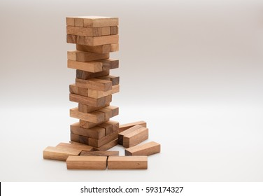 Close up of stack of wooden block , learning and playing concept