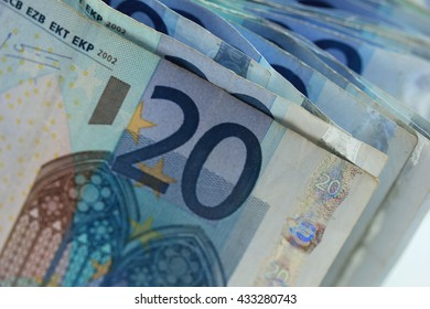 Close up of stacked 20 euro banknotes
