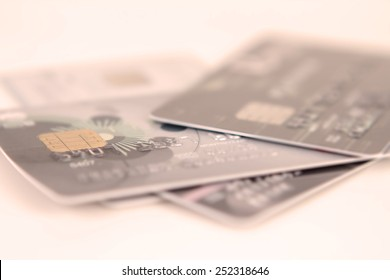 close up stacking credit cards , selective focus by very shallow focus