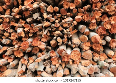 Close up of stacking of firewood